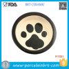 Bacia cerâmica do animal de estimação de Fave do animal de estimação preto da pegada da borda