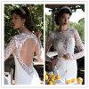 Neuester Applique-Backless Nixe-Satin-langes Hülsen-Hochzeits-Kleid (WD007)