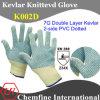 7g двойной слой кевлара вязаные рукавицы с 2 стороны ПВХ пунктирной/ EN388: 234X