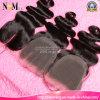 Stile brasiliano del tessuto del corpo dei capelli del Virgin delle chiusure del merletto di Aliexpress naturale fuori indicatore luminoso di trasporto libero del Brown nero o scuro DHL dal nuovo