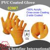 10g оранжевый 100% акрилового волокна вязаные рукавицы с 2-оранжевый ПВХ покрытие Criss-Cross/ EN388: 124X