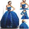 2012 Magnífico Sweetheart uma bainha de Linha Ruffle Appliqued Jaqueta Acetinado Paillette Tulle Fashion Quinceanera Dress (QD-057)