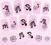 Notes musicales en 3D Rhinestone Water Nail Art Stickers Autocollant pour ongles