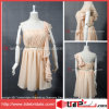Robe courte Chiffon de bal d'étudiants de robe jaune-clair de noce (AS3646)