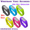4GB/8GB/16GB Wearable Wristband Bracket DIGITAL Voice Recorder Dictaphone One-Key Operation Wav 128kbps