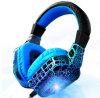 耳の携帯電話のWriedのステレオヘッドホーン上のヘッド台紙