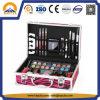 Organizador de aluminio rosado con estilo del maquillaje de la caja de la caja de tren de la cebra (HB-1025)