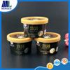 Taza impresa aduana del helado con la tapa, envases de papel del helado