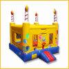 Castello di salto rimbalzante gonfiabile giallo della torta di compleanno per i capretti
