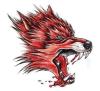 Стикер Tattoo Totem головки красного волка водоустойчивый временно