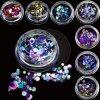 Neon Gemengde Kleurrijke Ronde schittert 3D van de Grootte de Vlokken van de Kunst van de Spijker