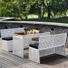 옥외 가구를 위한 최신 인기 상품 고리 버들 세공 식사 세트