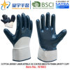 Хлопок Джерси Shell нитриловые перчатки безопасности с покрытием (N1603)