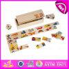 Nuovo prodotto caldo per il gioco di legno del giocattolo di domino dei 2015 capretti, giocattolo per i bambini, giocattolo di legno poco costoso W15A056 del gioco di domino del gioco di domino di promozione