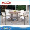Table à manger ronde en bois massif Table à café en acier inoxydable Ensemble