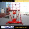 Équipement de levage télescopique hydraulique d'ascenseurs de double plate-forme aérienne en aluminium commandée d'ascenseur