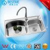 Het Roestvrij staal van de Gootsteen van de keuken met Twee Kommen (BS-8001-201P)