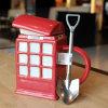 OEMの赤い警察ボックスコップのふたが付いている陶磁器のコーヒー・マグ
