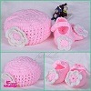 Bambino Hat Kintted Pink Hat Kint Flower con Baby Shoes