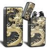New Dragon Embossed Double Arc cigarro isqueiro