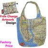 Saco de compra Foldable de nylon com impressão do mapa