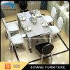 Tabela de jantar superior de jantar moderna do mármore da tabela do aço inoxidável dos jogos