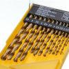 13pcs Revestimiento de estaño Juego de brocas de torsión de acero de alta velocidad en caja de plástico