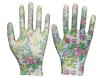 Madame enduite par nitriles estampée par fleur Garden Gloves Fordigging et plantation de polyester