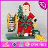 2015 Navidad Rotatorio caja de música con Santa, hombre de nieve diseño de la caja de música de madera, un buen precio de madera de Navidad juguetes musicales W07b006A