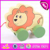 Lovely Animal Lion Pulling Toy Wooden Toy Pulling for Kids, Children Funny Play Wooden Lion Pull Along Cart Toy W05b113