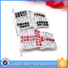 고품질 주문품 모조 다이아몬드 금속 깃발 브로치 Pin