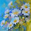 Dekoratives blaues Blumen-Seehandgemaltes Hauptkunst-Ölgemälde