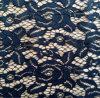 Черный флористический африканский шнурок ткани вязания крючком