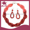Conjunto de jóias de brinco de cristal vermelho e pulseira (2015 Gus-Fsns-038)