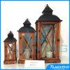 Linterna de madera de Tealight LED de la vendimia de Home&Garden del país francés