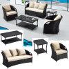 안뜰 고리 버들 세공 가구 세트는 5개의 안락 의자 커피용 탁자 Wiith 2개의 방석 TG Jw901로 앉히는 소파를 놓았다