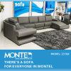 Mobiliário, sofá de canto de couro cinzento moderno Sofá-Cama