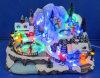 LED 12 Scène de village avec trois mouvements, déplaçant le patinage, danser les gens, les enfants jouer au hockey, huit chansons de Noël