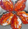 De rode Met de hand gemaakte Olieverfschilderijen van de Bloem door het Mes van het Palet