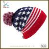 カスタム米国のフラグPOM POMの冬によって編まれる帽子の帽子