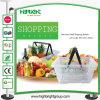 Panier à provisions en plastique clair de traitement de double de supermarché