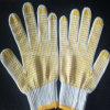 Перчатки работы хлопка с резиновый многоточиями сжатия