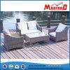 2つの単一のソファー、1つの愛シートおよびコーヒーテーブルが付いている円形の藤の庭のソファー
