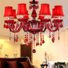 8 Leuchte-Kerze-Leuchter-preiswerte rote Kristallleuchter