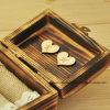 Caja personalizada del anillo de boda, portador rústico del anillo