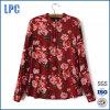 Camicetta chiffona stampata floreale rossa di festa delle donne