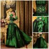 Quente 2012 Magnífico Strapless Ruffle Bainha Jaqueta Flor frisado de Tulle Satin Prom Dress (DB-090)