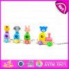 Pull Back Toy en bois Quatre animaux assortis, jouets en bois Toys Jouet interactif animal animal Cartoon W05b112