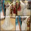 Da sereia Chiffon da V-Garganta do vestido do vestido de noite do laço vestido de casamento nupcial E13915
