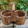 Цветочные горшки 100% Handmade Wooden природы для сада Home